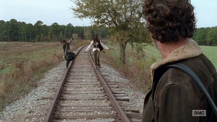 Michonne and Carl in the Waking Dead