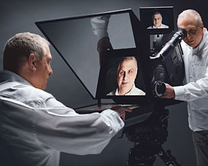 Errol Morris with the Interrotron