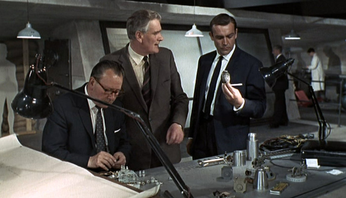 James Bond with his grenade flask in Goldfinger