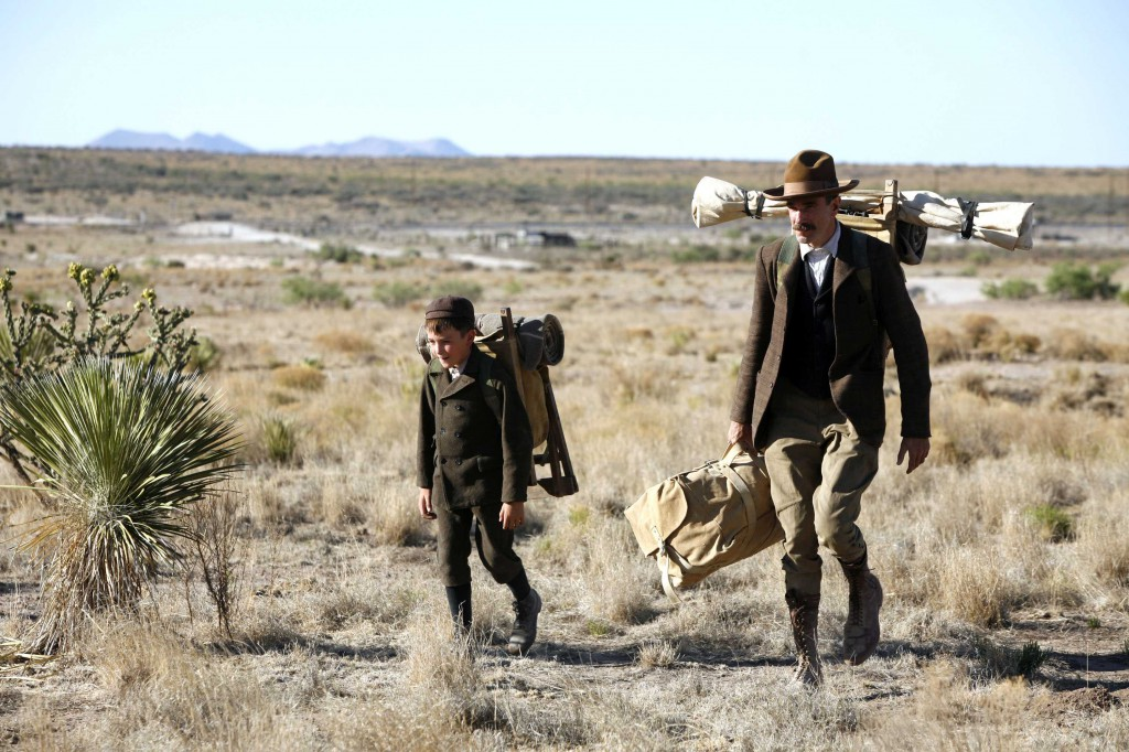 Daniel Day Lewis and son walk in There Will Be Blood