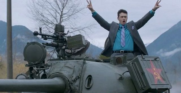 James Franco rides in a tank in The Interview
