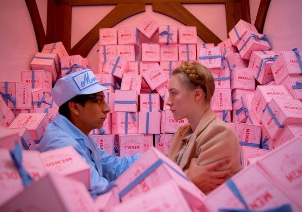 Pink boxes in The Grand Budapest Hotel