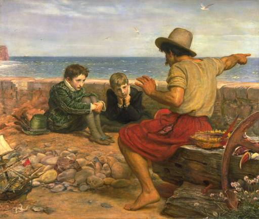 A painting of a man telling two boys a story