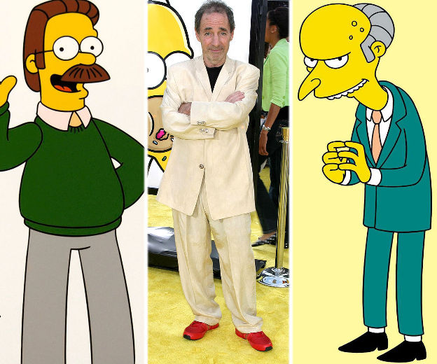 Harry Shearer with Ned Flanders and Mr. Burns