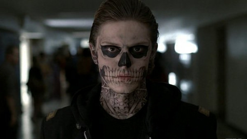 Evan Peters in corpse paint in American Horror Story