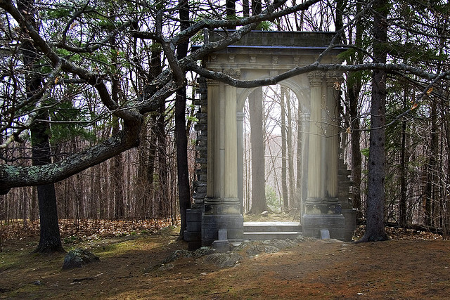 an archway in the woods