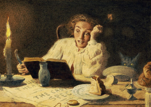 painting of woman reading a scary story at night