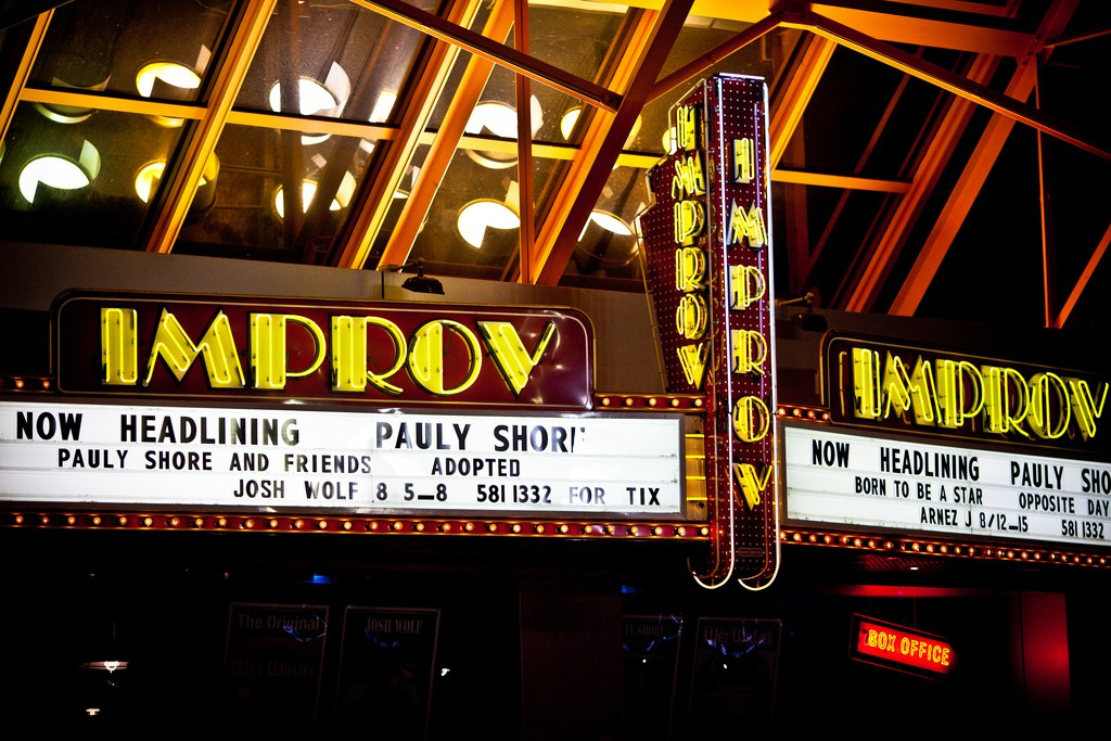 Improv theater marquee