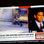 Shot of television coverage of San Bernardino shooting