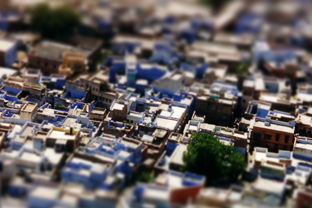 Digitally blurred miniature fake of Jodhpur