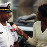 Faith Abubey interviewing a naval officer