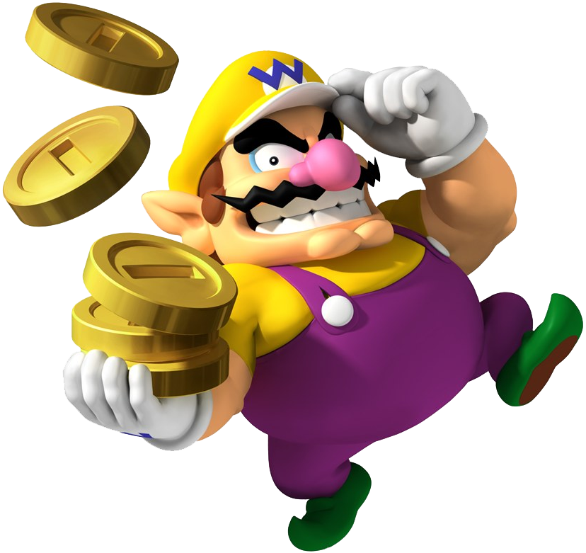 Wario with coins