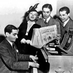 Musical theater performers from the 40s singing around piano