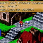 Super Mario RPG dialogue with Mario and Toadstool