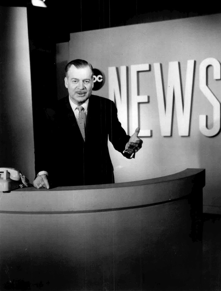 Rob Chochran reading the news in 1963