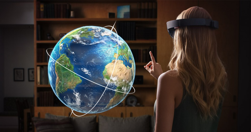 HoloLens user with globe