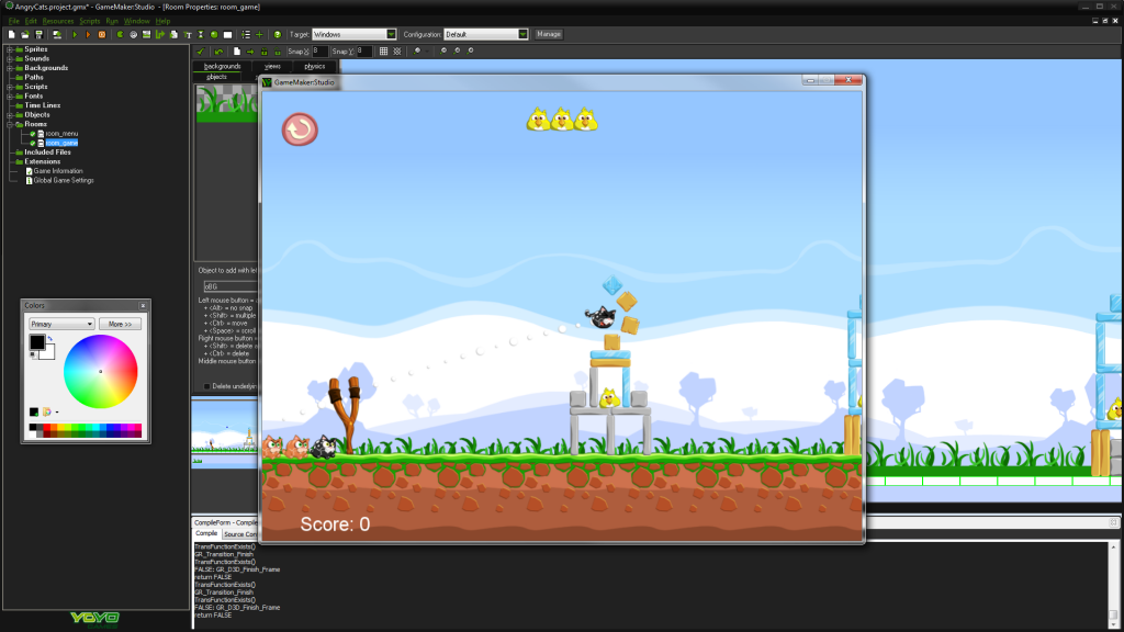 Game development software screenshot