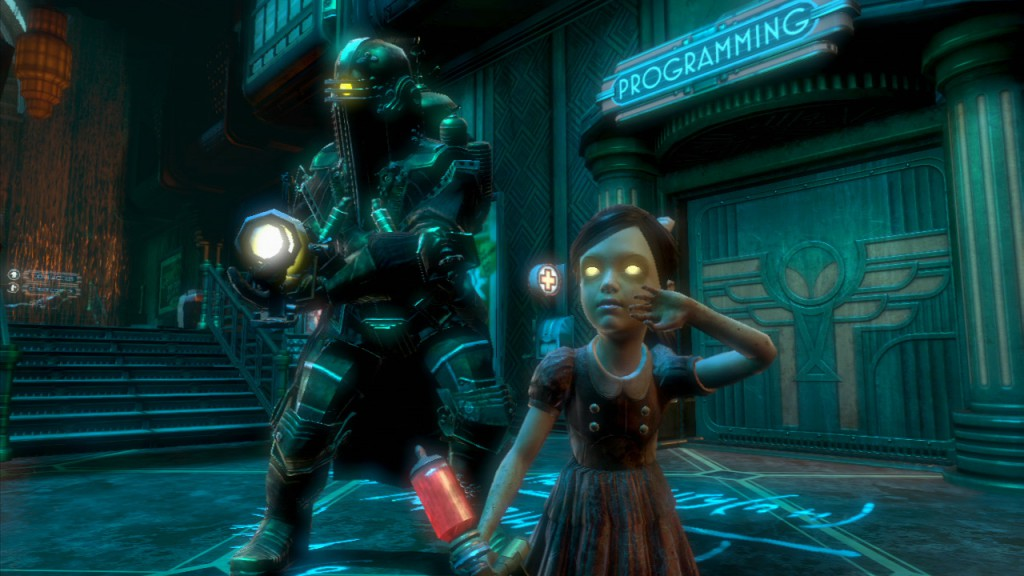 Young girl and soldier in game screenshot