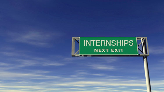 Internships Next Exit road sign
