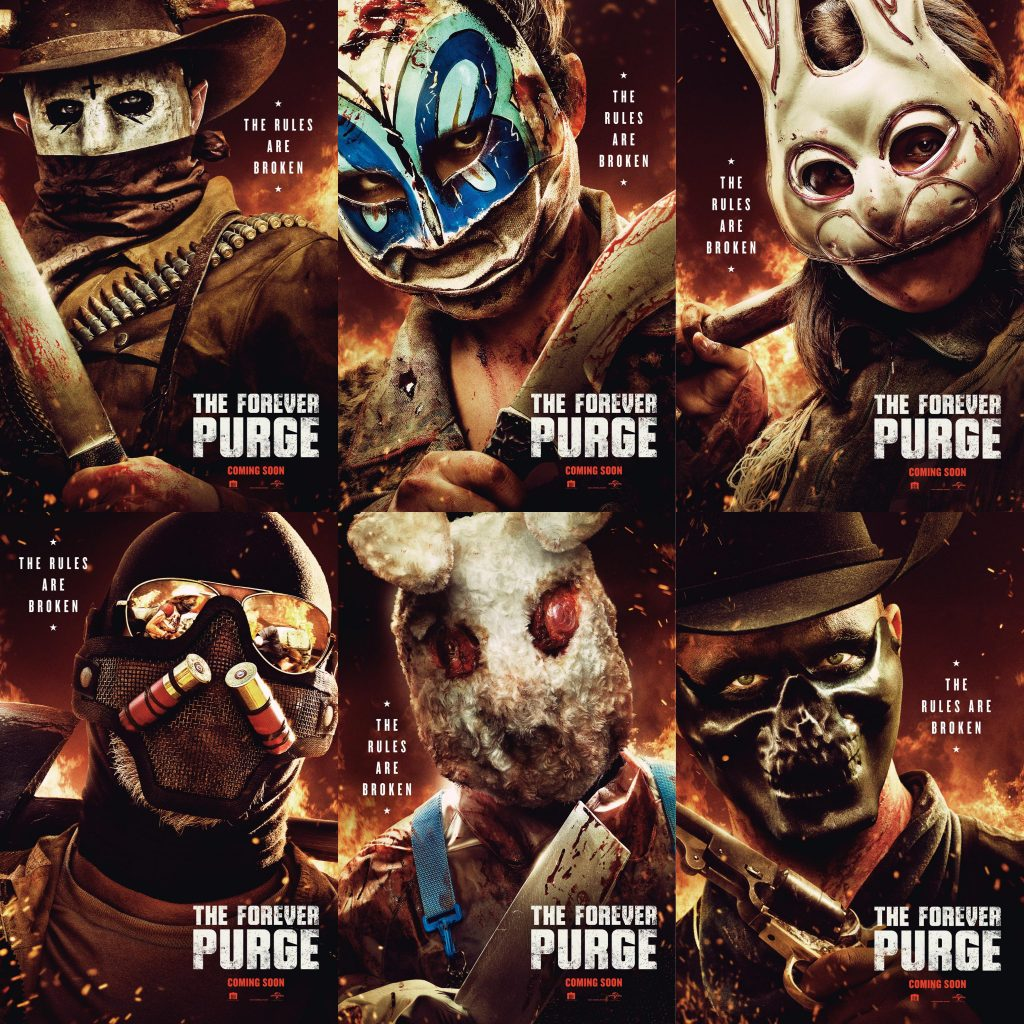 Collage of Forever Purge Character Posters