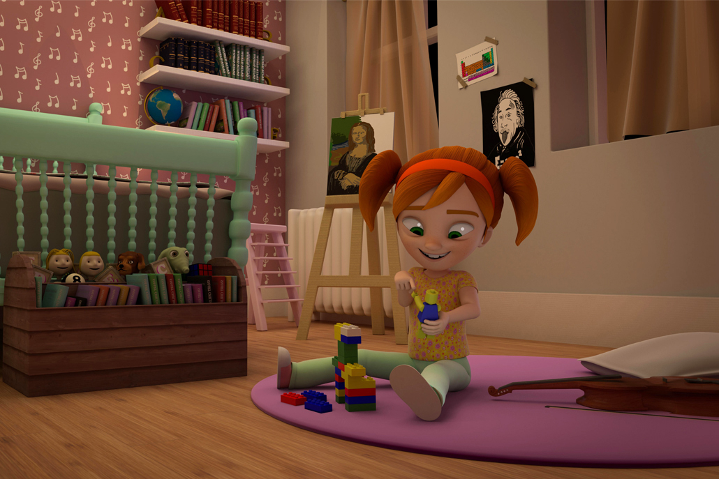 3D animation of little girl playing with Legos in her room