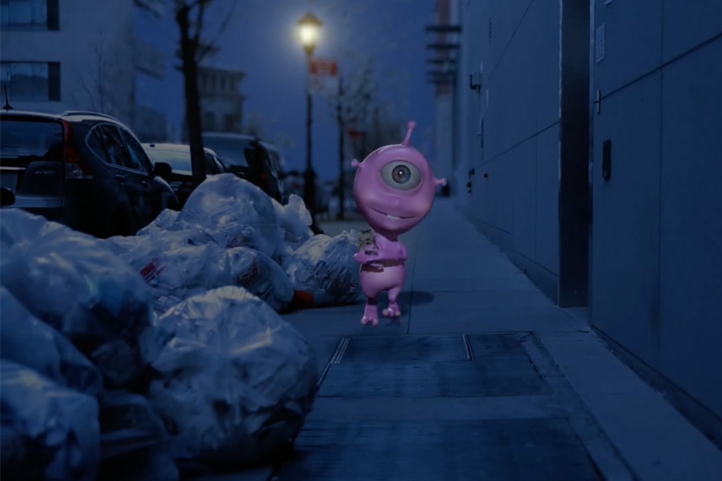 3D animation of purple alien character holding toy and walking down the street