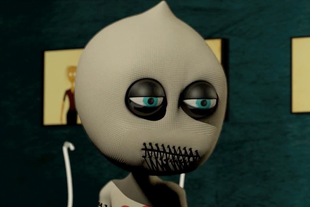 3D animation close up of voodoo doll character