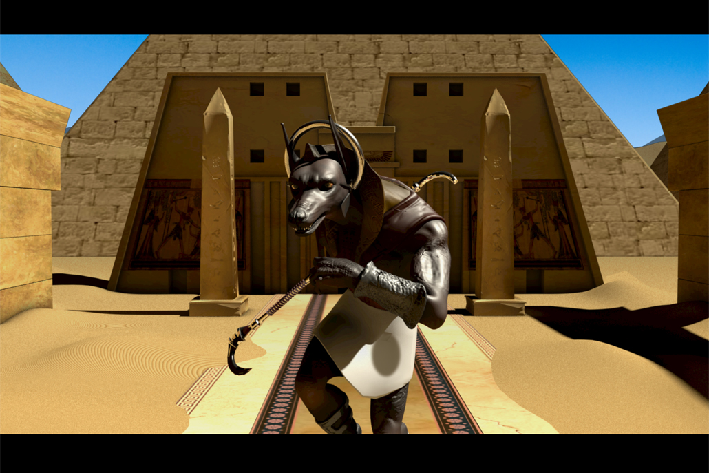 3D animation of Egyptian God Anubis in front of pyramid