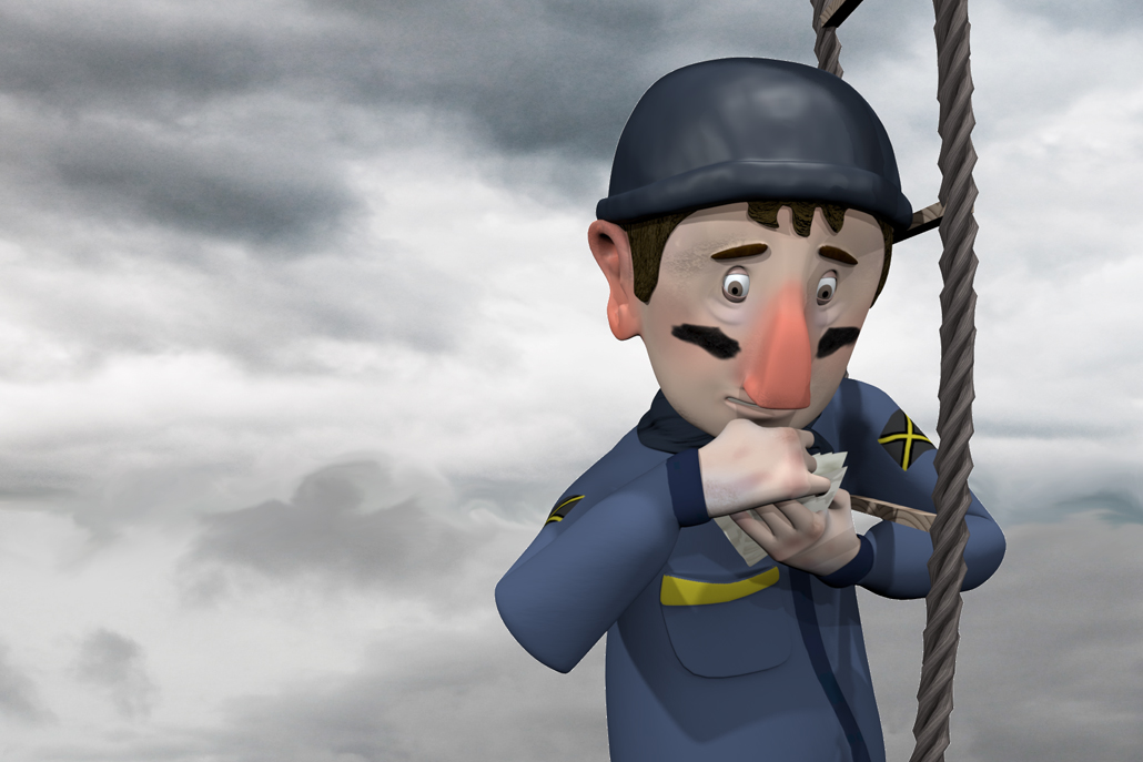 3D animation of soldier holding letters