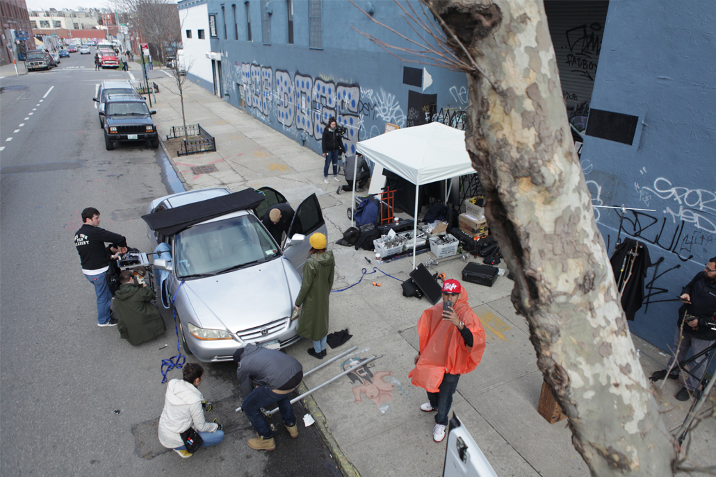 Crew members setting up outdoors set