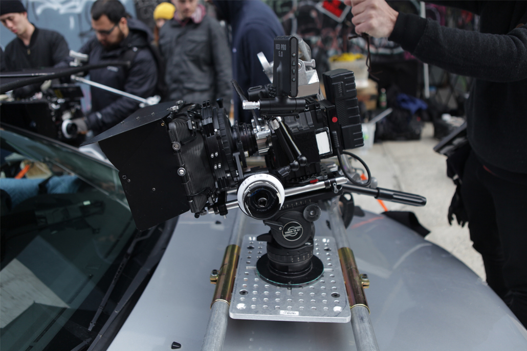 Close-up of front car camera rig