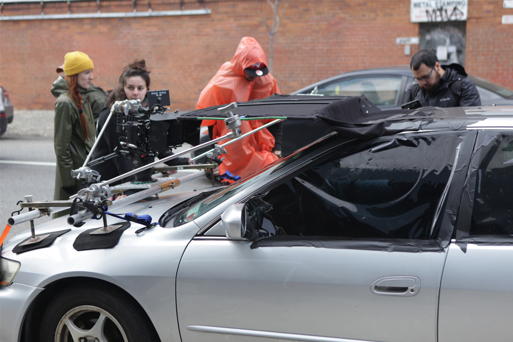 General view of car camera rig structure