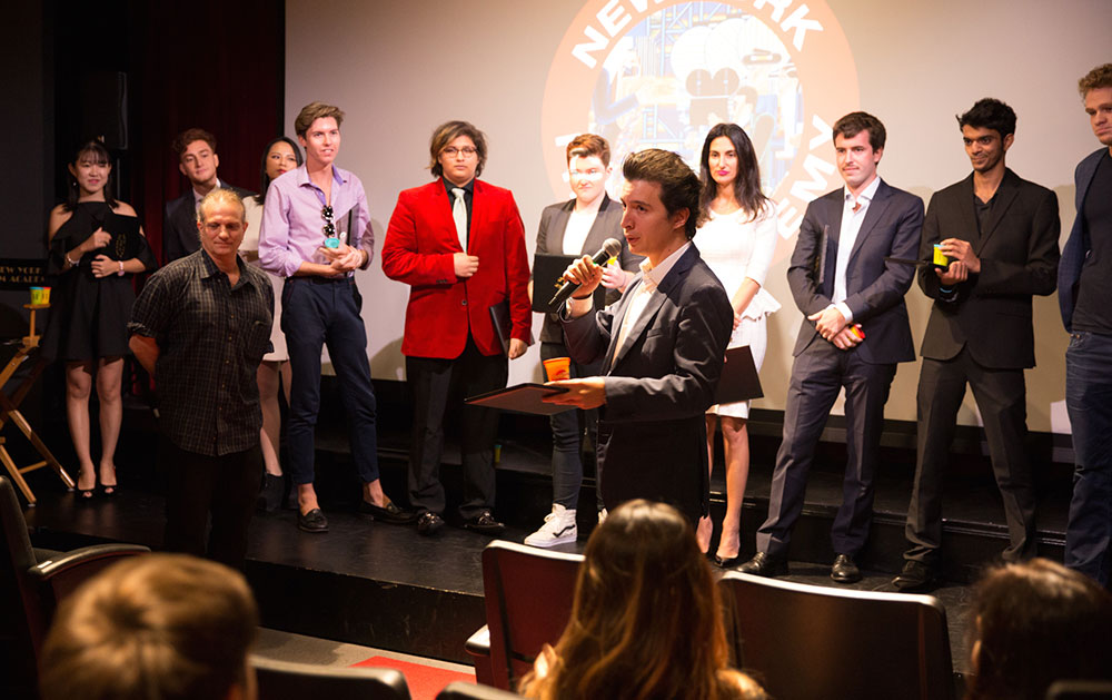 speaker giving announcement at the 2016 nyfa fall film commencement ceremony