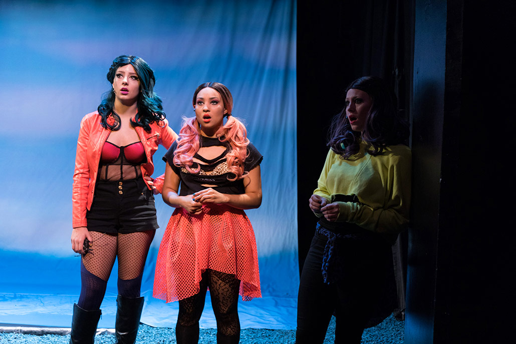 NYFA musical theatre students in colorful mesh punk costumes sing in Eurydice.