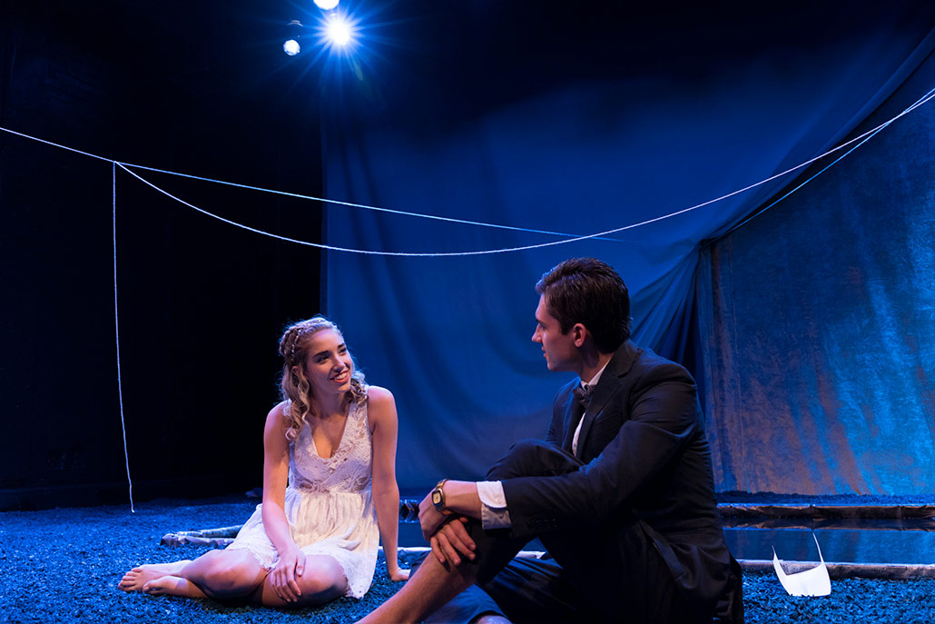 NYFA musical theatre students sit together for an intimate scene in Eurydice.