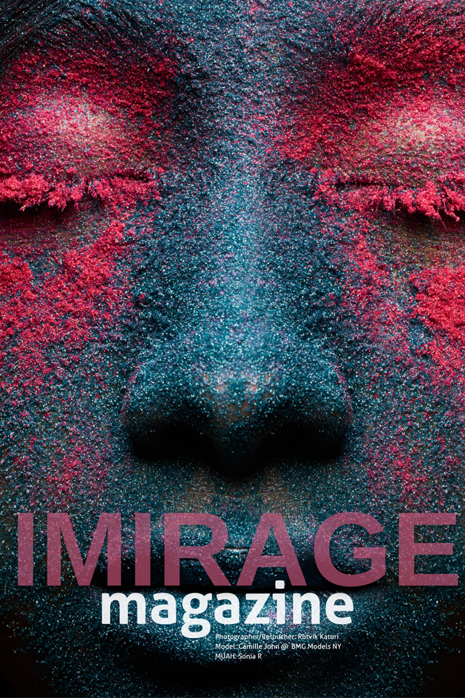Face covered in blue and pink powder with 'Imirage Magazine' written on bottom