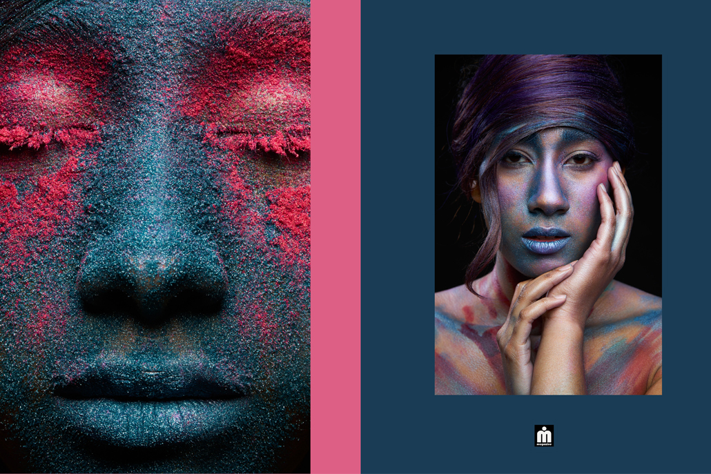 Face covered in blue and pink powder next to image of woman posing covered in powder
