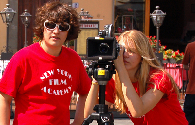 Students film on the streets of Florence, Italy