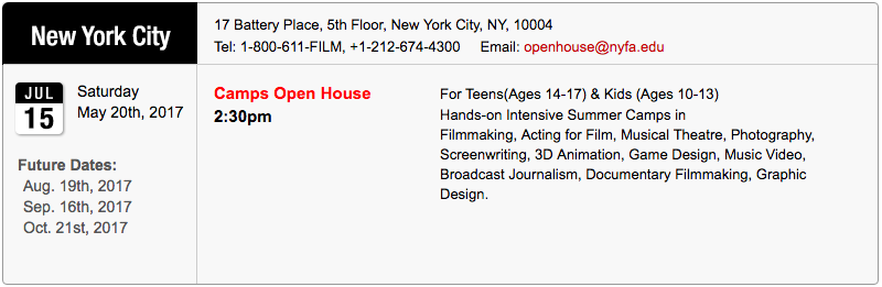 NYC Camp Open House July 2017