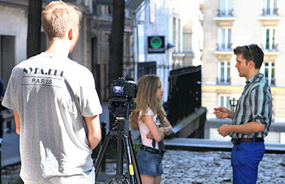 NYFA Summer Camp students shoot on the Paris streets