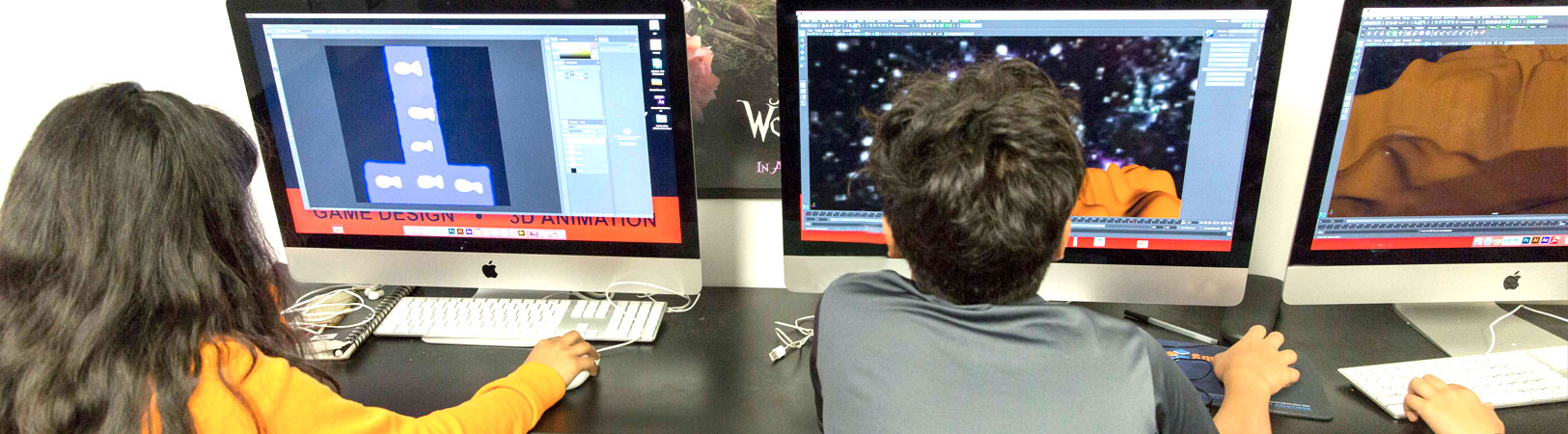 NYFA Summer camp students on computers learning game design