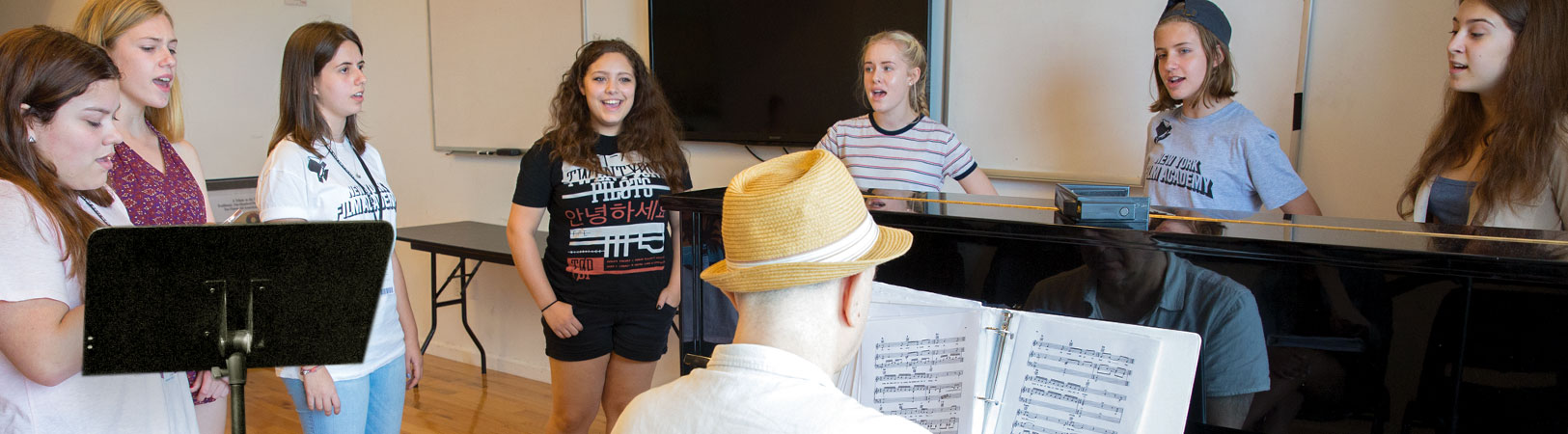 NYFA Musical Theatre students practicing with a pianist