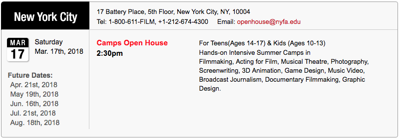 New York City March 2018 Open House for Summer Camps