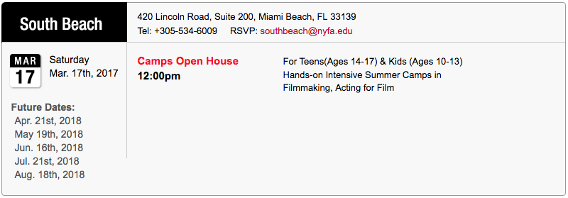 South Beach March 2018 Open House for Summer Camps